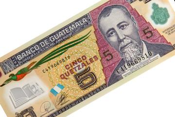 Banknote aus Guatemala - Fünf Quetzales