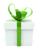 White gift box with green ribbons