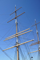 masts and rigging on historic square-rigger