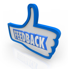 Feedback Word Blue Thumb Up Positive Comments