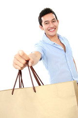 male with shopping bag