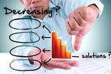 businessman showing decrease bar chart poster