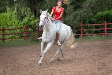 Horsewoman riding