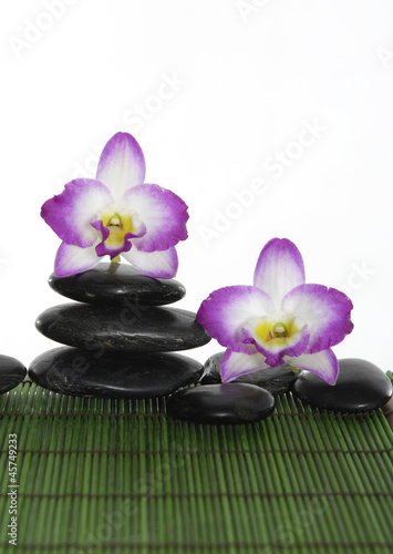 Two orchid with stacked of stones on green bamboo mat