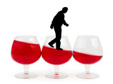 Wine glasses and alcoholic man poster