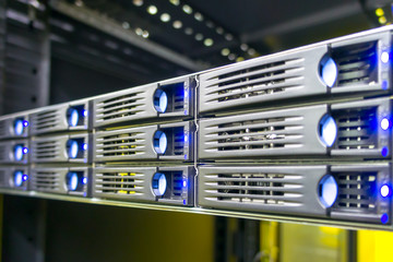 Data center rack with hard drives