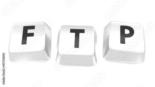 FTP written in black on white computer keys