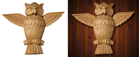 Owl - Wooden Sculpture Hand Carved