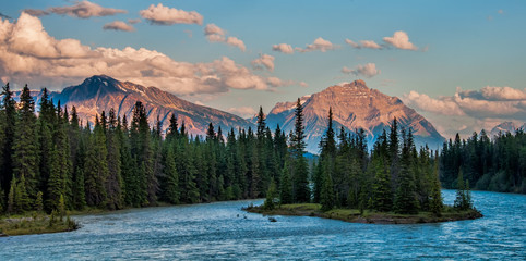 Forest and Mountains Behind the Athabasca River