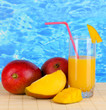 Ripe appetizing mango on woven napkin on water background