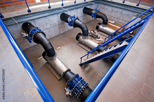 pipe with fittings, industrial interior and pipes
