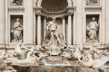 Trevi Fountain detail in Rome, Italy.