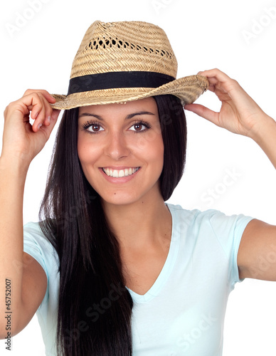 Pretty brunette woman with straw hat