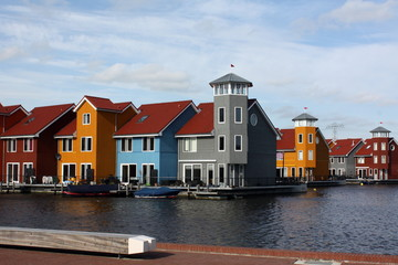 Colored houses in the city Groningen.Netherlands