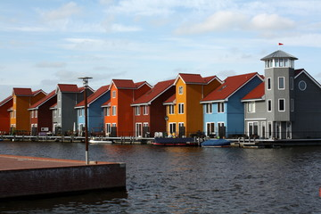 Colored houses on the waterfront  in Groningen.Netherlands
