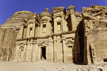 monumental facade of ed dier in petra, jordan