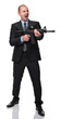 angry businessman with rifle