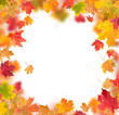 Autumn maple leaves in round shape with free space in center