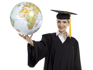 graduating female student holding world globe