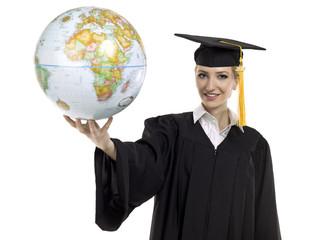 graduating female student holding world globe