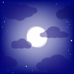 Night background with transparent clouds and moon.