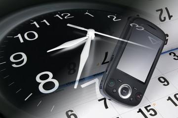 Clock, Smart Phone and Calendar