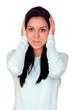 Attractive brunette girl covering her ears
