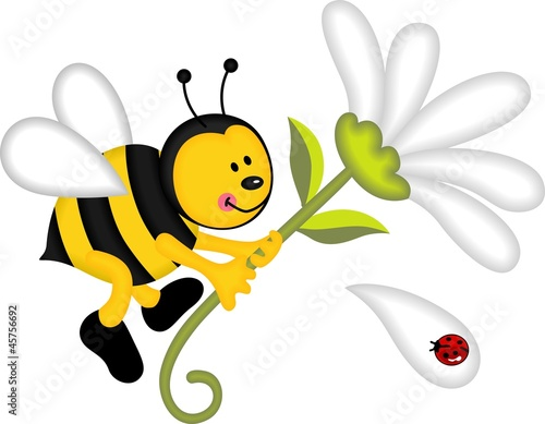 Poster Lieveheersbeestjes Bee flying holding flower