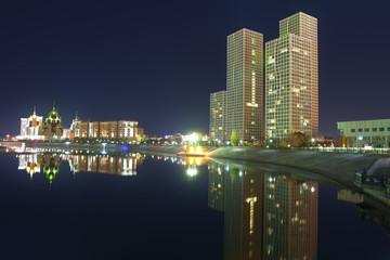 The Nightly River bank Ishim. Astana City, Kazakhstan