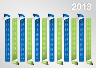 Kalendarium 2013 blau/grün