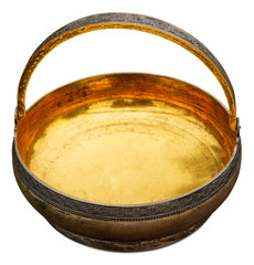 Antique bowl gilding inside isolated on white