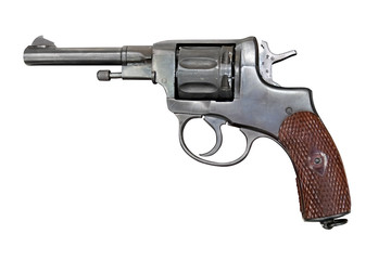 Old Nagant revolver. Clipping path included.