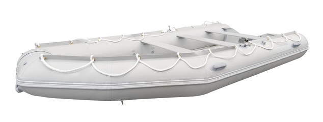 Rubber boat isolated on white. Clipping path included.