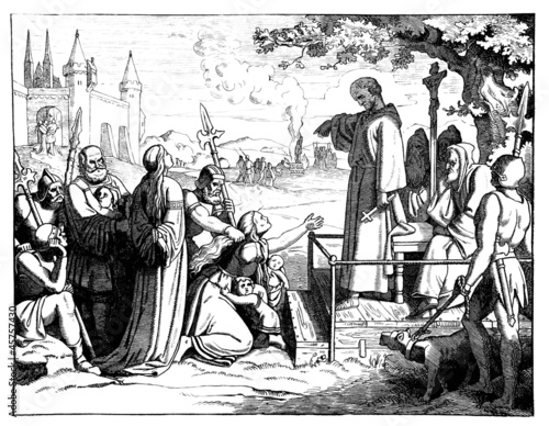 Medieval scene : condamning a woman to be burn !