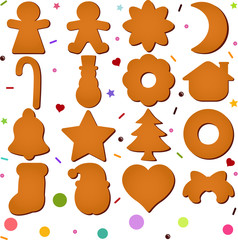 Vector set of Blank Gingerbread (Christmas festival biscuit)