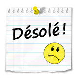 "Message ""DESOLE"" (pardon excuses sourire carte merci mot gentil)"
