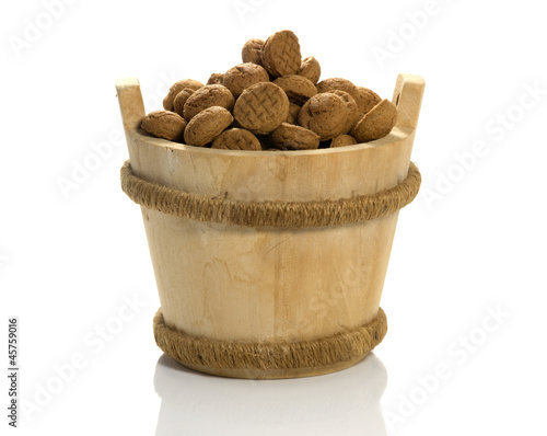 wooden sauna bucket with dutch pepernoten