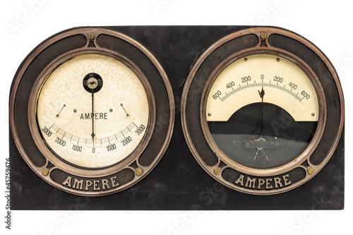 Leinwanddruck Bild Old early twentieth century double ampere meter