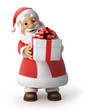 Santa Claus with a gift, 3d image with work-path