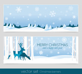 Fototapety Christmas banners with deers