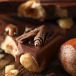 Schokolade mit Haselnüssen Makro