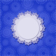 Blue Square Card with Round White Vignette