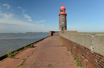 lighthouse on the pier in Bremerhaven, Germany