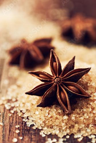 Star anise on brown sugar