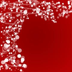 Fond rouge flocon et étoile pour noël