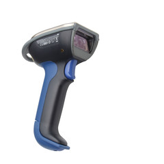 Bluetooth barcode and QR code scanner isolated over white backgr
