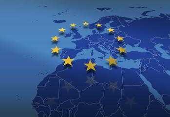 Europa *** Karte mit EU-Sternenbanner