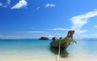 Long Tail Boat in Clear Water and Blue sky. Samui Island, Thaila