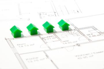 Häuser mit Bauplan