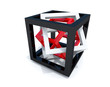 Black, white and red wire-frame cubes within each other